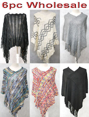 6pc Wholesale Women's Pullover Poncho Batwing Shawl Knitwear Cape free size Mix