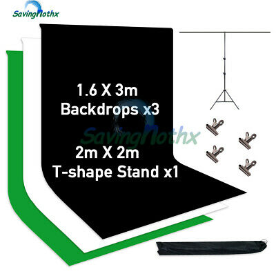T Type Photo Backdrop Support Stand +1.6x3M Black White Green Screen Background