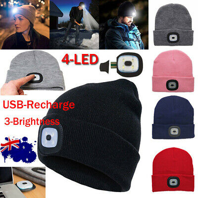 LED Beanie Hat USB Rechargeable Torch Light Cap Outdoors Camping Joggers Gift AU