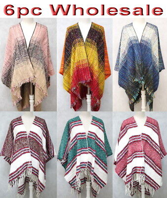 6pc Wholesale Women's Poncho Shawl Winter Cloak Cape Open Front free size Mixed