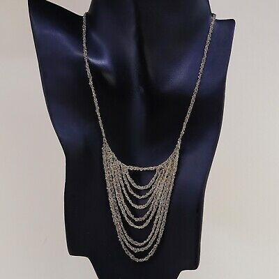 "16"", Vtg Vermeil Gold 925 Sterling Silver Rope chain necklace W/ Fringe Pendant"