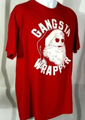 8e80c9aa4b Santa Claus Gangsta Wrapper Funny Christmas Holiday *Red* Cotton T-Shirt  Size LT