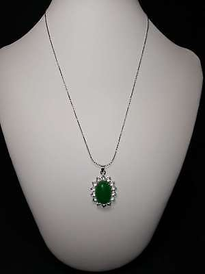 Exquisite Silver Inlaid Natural Jade Necklace & Pendant