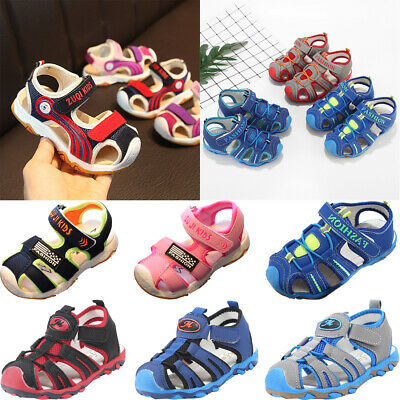 Toddler Kids Baby Girls Boys Children Closed Toe Beach Shoes Sandals Sneakers