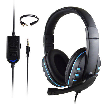Gaming Headset Stereo Surround Headphone 3.5mm Wired Mic For PS4 Laptop Xbox AS