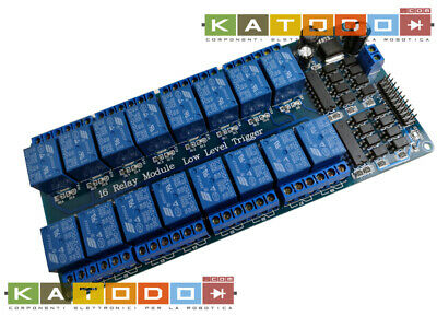 Relay Module with Optoisolated input - 16 channel 10A - 12V Supply - Low Level T