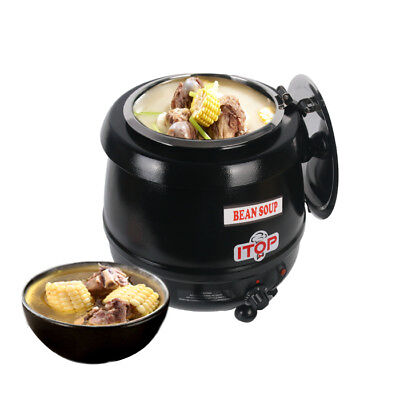 Electric Black 10L Soup Kettle Chilli Stew Curry Mulled Wine Peas Food Warmer