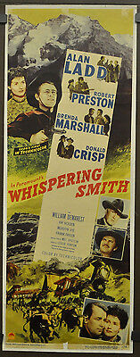Whispering Smith 1948 Orig 14x36 Lin Dos Affiche Film Alan Ladd Marshall