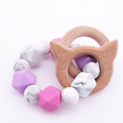 Cat Whale Beech Wooden Baby Teething Bracelet Toy Silicone Beads Teether Rattle
