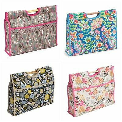 Knitting / Sewing craft bag, wooden handles, choice of 4 designs 10 x 43 x 33cm