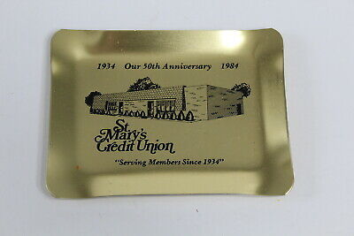 Vintage St. Mary's Credit Union Metal Tray Dubuque Iowa 50th Anniversary 1984 Ia