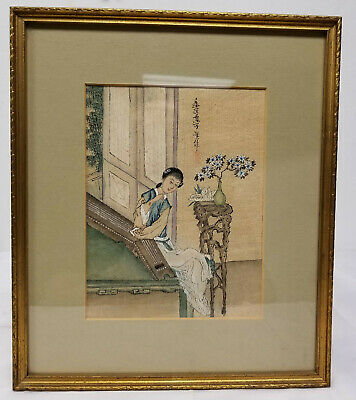 Antique Vintage Chinese Painted Silk Picture Lady Signed Calligraphy Inscription