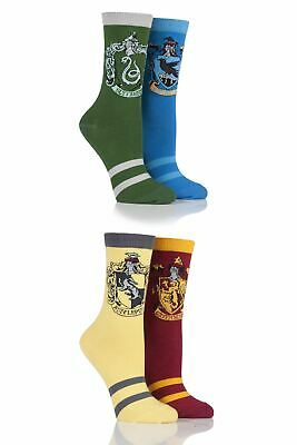 Ladies 4 Pair Harry Potter House Badges Socks