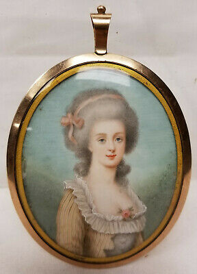 Antique Fine Miniature Painting Portrait French Lady 19th Century Gold Cased