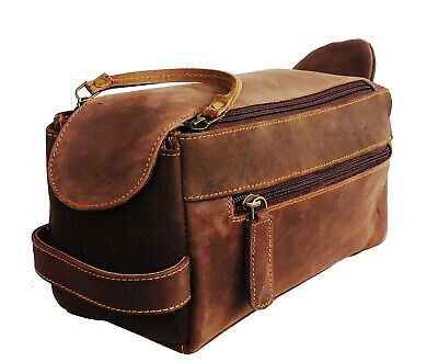 Vintage Leather Canvas Travel Toiletry Bag Shaving Dopp Kit Men Shaving Case