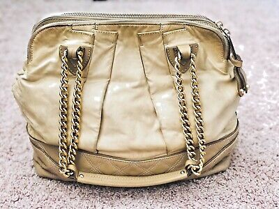 2d813bfacfda MARC JACOBS Leather Pleated  Little Gordon  Shoulder Bag- Beige w  Gold  Chain
