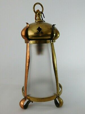 ARTS AND CRAFTS COPPER & BRASS LANTERN c1880 ~ FREE UK POSTAGE