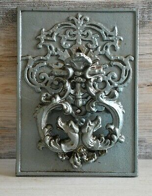 Vintage, old world style Door Knocker, on a heavy metal Backing Plate.