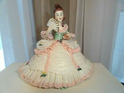 Antique German Germany Dresden Art Porcelain Figurine Large Seated Lady As Is