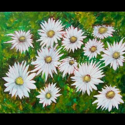 Oil painting white Daisies abstract floral flower art 20 x 16 inches by Fallini