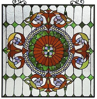 """25"""" x 25"""" Victorian Tiffany Style Stained Glass Window Panel W/ Chain"""