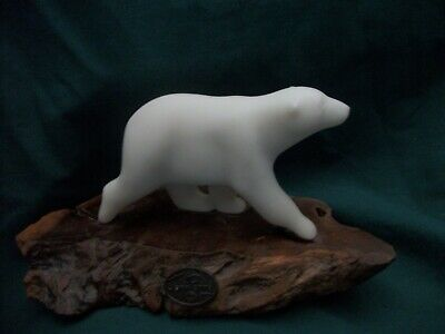 POLAR BEAR /& 2 CUBS Sculpture New Direct from JOHN PERRY 10in long on burl slab