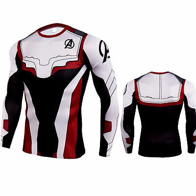 Adult Marvel The Avengers 4 Shirt Compression Cool Dry Sport Gym Top Long Sleeve