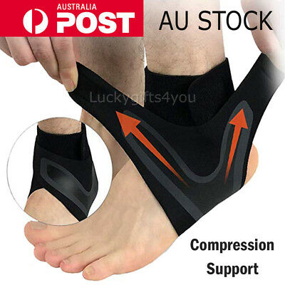 Adjustable Sports Elastic Ankle Brace Support Basketball Protector Foot Wrap M/L