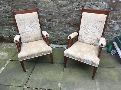 Pair antique vintage ?  Parlor Chair Armchair Library Seat