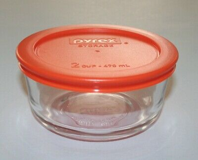 Pyrex 2 Cup Glass Round Simply Store Bowl with Orange Lid, NEW