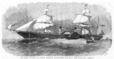 Royal British & North American Mail Packet Steam Ship Persia- Antique Print 1856