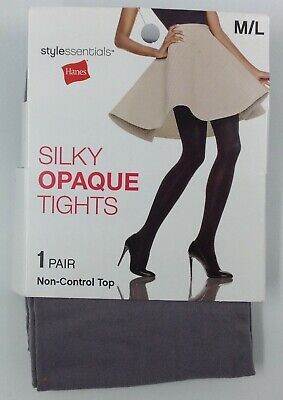 Hanes Style Essentials Silky Opaque Tights Grey 1 pair M/L