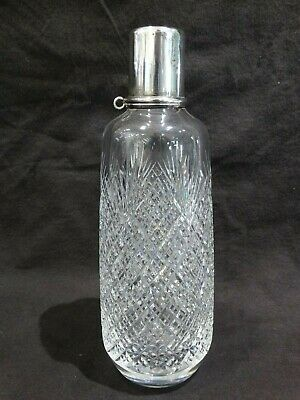 Vintage Signed Hawkes ABP Deep Cut Glass Decanter w/ Sterling Shot Cup/top