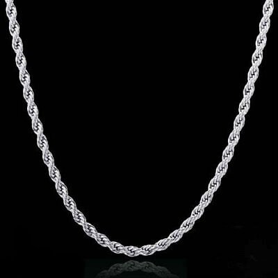 16,18,20,24,30 Inch Sterling Silver Plated 2 Mm Rope Chain Necklace L19