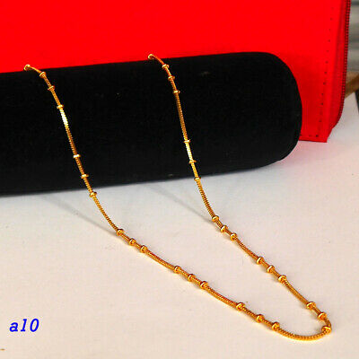 22k Gold Plated  2mm fine Figaro Chain necklace kapa 24 in