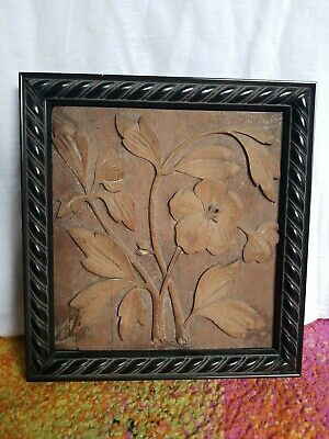 Antique Aesthetic Movement Hand Carved Hardwood Relief Floral Decorative Plaque