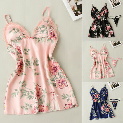 Silk Satin Nightgown With Chest Pad Lace Robe Dress Babydoll Nightdress