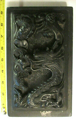 "Antique Asian / Chinese Carved Dragon  Ink Stone 8""5/8 X 5'1/8X 2'1/2"