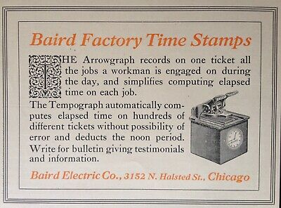 Chicago 1912 Ad j33 ~baird Electric Co Baird Factory Time Stamp Yet Not Vulgar