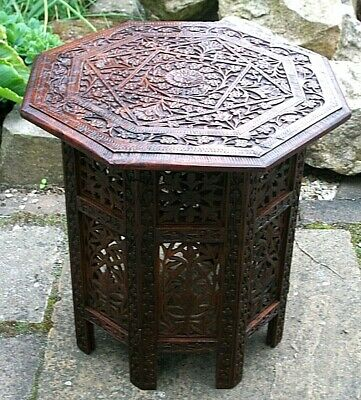 Superb  Antique  Octagonal Folding   Anglo/ Indian   Side Table