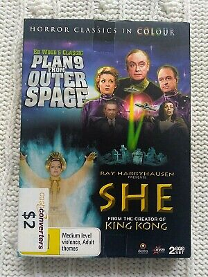Plan 9 From Outer Space / She – Dvd, 2-Disc Box Set    R-4, Like New, Free Post
