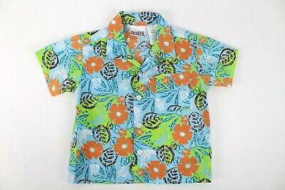 Little Rebels Boy's 2T Short Sleeved Button Down Floral/Tropical Patterned Shirt