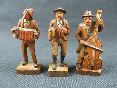 Vintage trio German Bavaria Black Forest carved wood musician orchestra statue