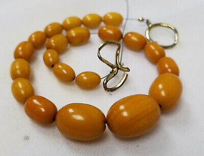 Antique Chinese Carved Baltic Honey Butterscotch Amber Necklace Beads 20.9g