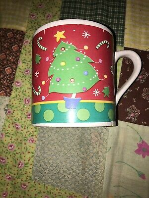 MSI Red Coffee Mug Christmas Tree Snowflakes Candy Canes Wraps Around The Cup