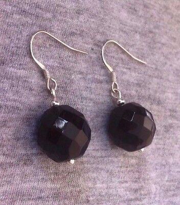 earrings  -  VINTAGE 1950s faceted French JET -  NEW SOLID 925 STERLING SILVER