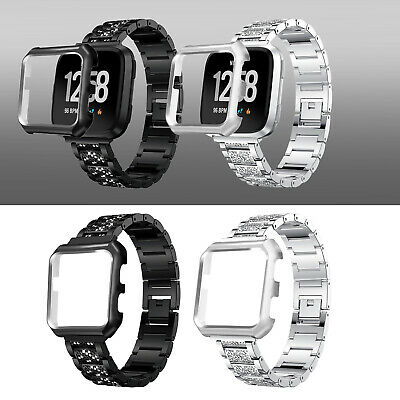 Luxury SS Steel Wrist Band Strap w/Metal Cover For Fitbit Versa/Special Edition