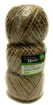 Natural Jute Strings Garden Twine Packing String Jute Rope Set - 3x 40m
