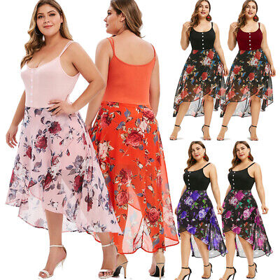 Plus Size Womens Fancy Floral Overlay High Low Dress Sleeveless Summer Dresses