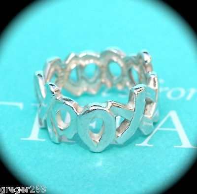 22e62ccc5 Tiffany & Co Silver Picasso XXXOOO Hugs Kisses Ring Band Sz 6 *MINT*